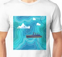 Seamless vector pattern with ocean waves, ship and icebergs. Unisex T-Shirt