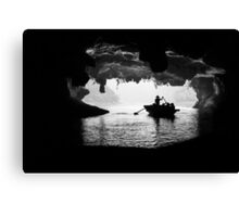 Rowing into the Cave Canvas Print