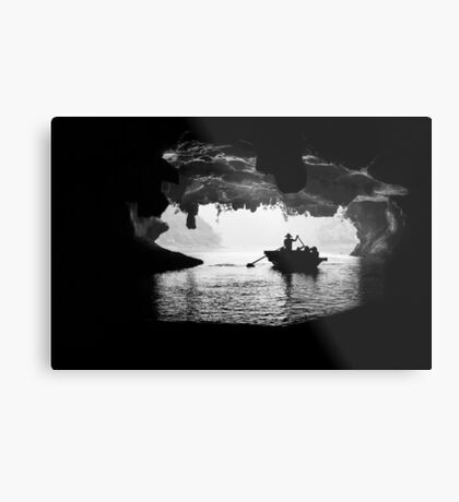 Rowing into the Cave Metal Print