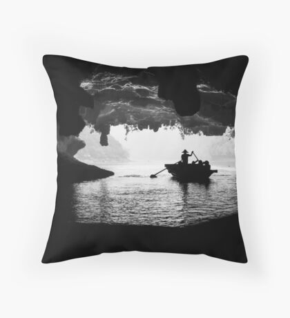 Rowing into the Cave Throw Pillow