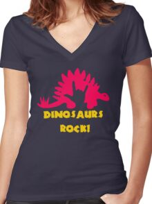 Dinosaurs Rock Women's Fitted V-Neck T-Shirt