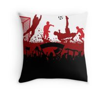 Soccer players at play poster Throw Pillow