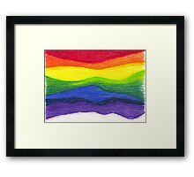 Colored pencil rainbow on textured paper Framed Print