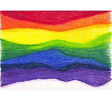 Colored pencil rainbow on textured paper Photographic Print