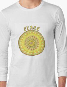 Peace mandala in yellow and orange tones Long Sleeve T-Shirt