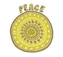 Peace mandala in yellow and orange tones Photographic Print