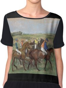 Edgar Degas - At the races, Impressionism Chiffon Top