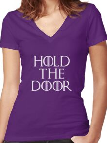 Hold the door! Hold the door!  Women's Fitted V-Neck T-Shirt