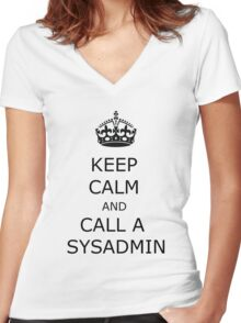 keep calm call sysadmin Women's Fitted V-Neck T-Shirt