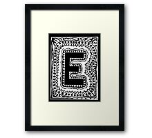 Initial E Black and White Framed Print