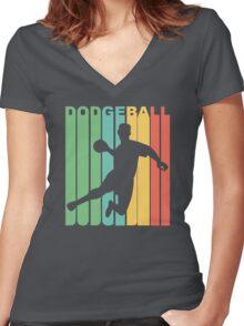 Retro Dodgeball Women's Fitted V-Neck T-Shirt