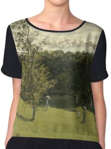 Claude Monet - Train in the Countryside , Impressionism Chiffon Top