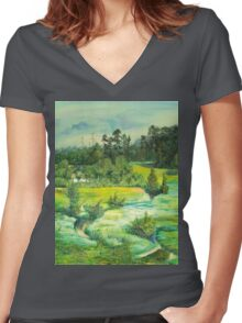 green valley Women's Fitted V-Neck T-Shirt