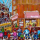SCHOOL BUS AT BEAUTY'S RESTAURANT by Carole  Spandau