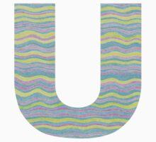 Letter U Neon Wavy Stripe Pattern Monogram Initial Kids Tee