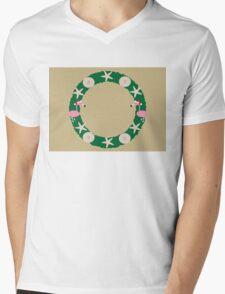 Christmas Beach Wreath Mens V-Neck T-Shirt