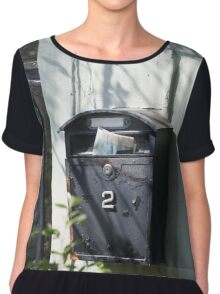 Old mailbox with newspaper Women's Chiffon Top