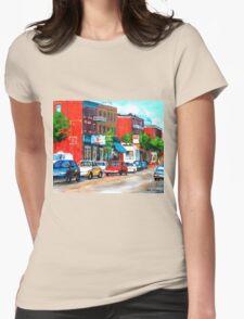 SAINT VIATEUR STREET SUMMER SCENE MONTREAL Womens Fitted T-Shirt