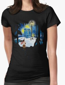 The Lion, The Doctor, and the Tardis (on Dark) Womens Fitted T-Shirt