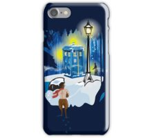 The Lion, The Doctor, and the Tardis (on Dark) iPhone Case/Skin