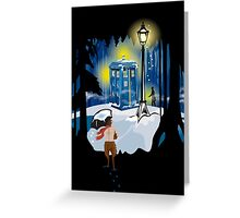 The Lion, The Doctor, and the Tardis (on Dark) Greeting Card