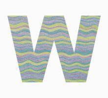 Letter W Neon Wavy Stripe Pattern Monogram Initial Kids Tee