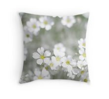 white spring flowers field  Throw Pillow