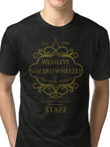 Weasleys' Wizard Wheezes V3 Staff (Distressed Gold) Tri-blend T-Shirt