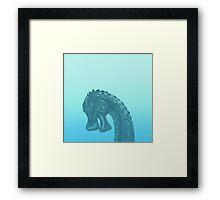 Cute Blue Geek Dinosaur  Framed Print