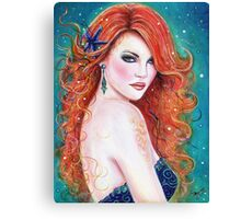 Makennah red head mermaid art by Renee Lavoie Canvas Print