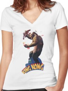 King Kong Retro Women's Fitted V-Neck T-Shirt