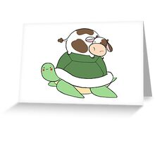 Little Cow Big Turtle Greeting Card