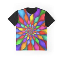 Rainbow Spiral Petals Flower Graphic T-Shirt