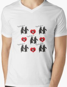 Together forever penguin pattern Mens V-Neck T-Shirt