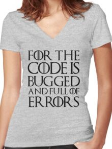 For the code is bugged and full of errors... Women's Fitted V-Neck T-Shirt