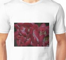A close-up study in red rose petals Unisex T-Shirt