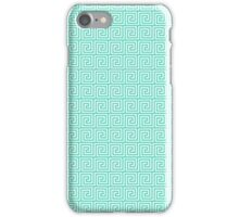 Tiffany Blue and White Greek Key Interlocking Repeating Square Pattern iPhone Case/Skin