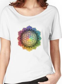 Rainbow Flower of Life with Lotus Women's Relaxed Fit T-Shirt