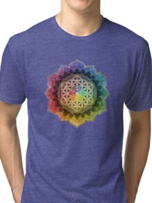 Rainbow Flower of Life with Lotus Tri-blend T-Shirt