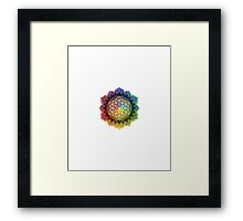 Rainbow Flower of Life with Lotus Framed Print