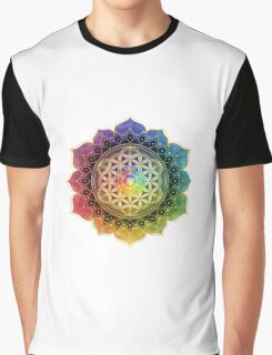 Rainbow Flower of Life with Lotus Graphic T-Shirt