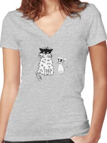 Cat superheroes Women's Fitted V-Neck T-Shirt