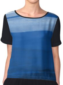 Abstract landscape in blue Chiffon Top