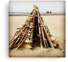 Driftwood Structure on the Oregon Coast Canvas Print