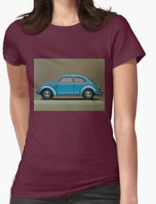 Volkswagen Beetle Painting Womens Fitted T-Shirt