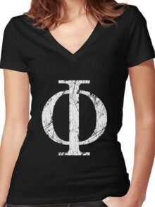Phi Greek Letter Symbol Grunge Style Women's Fitted V-Neck T-Shirt