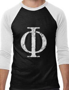 Phi Greek Letter Symbol Grunge Style Men's Baseball ¾ T-Shirt