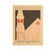 Logan's Ferry Presbyterian Church - 1885 (Orange) Art Print