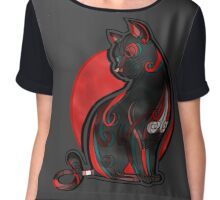 Artistic Abstract Black Cat with 3D effect Chiffon Top