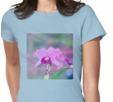 Pink Orchid Print. Womens Fitted T-Shirt